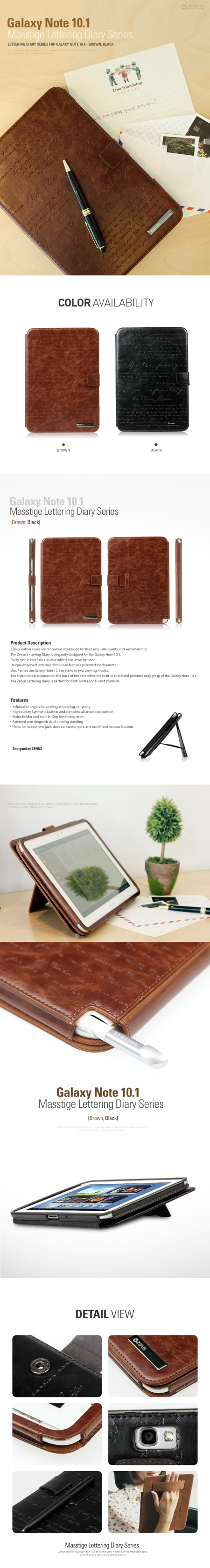 Zenus Galaxy Note 10.1 Masstige Lettering Diary Series